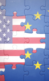 Puzzle of the national flags of the USA and EU