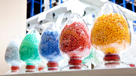 colorful jars filled with plastic grains