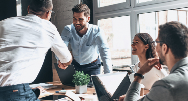 Confident business people starting a business meeting