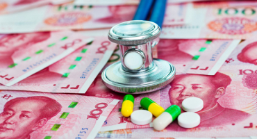 Pills on Chinese yuan background
